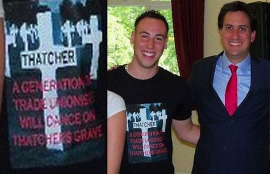Ed Miliband pictured grinning with a Margaret Thatcher hater