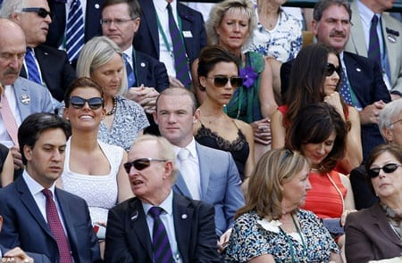 Labour leader Ed Milliband, musician turned fashion designer Victoria Beckham and footballer Wayne Rooney and his wife Coleen were amongst those in the Royal Box watching Andy Murray's historic victory
