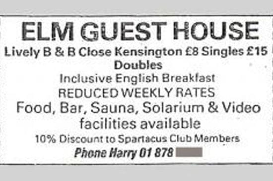 An advertisement for the guest house describes the facilities available