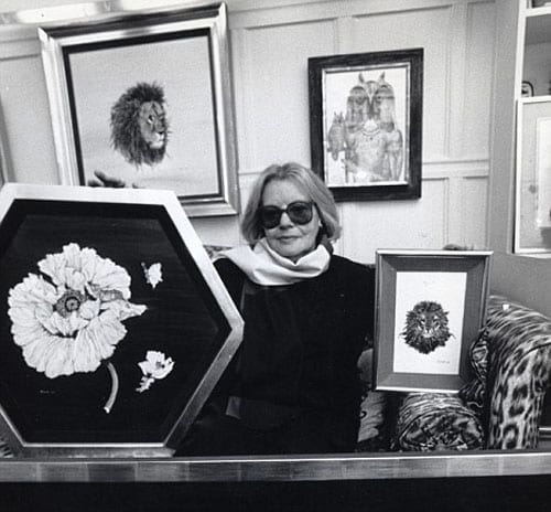 Fleur Fenton Cowles in Albany with some of her paintings and one by Salvador Dali 500 1