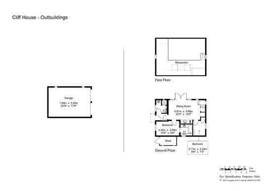 Floor plan of garaging and The Summer House