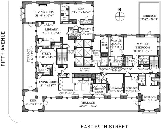The floor plan for the 18th floor apartment