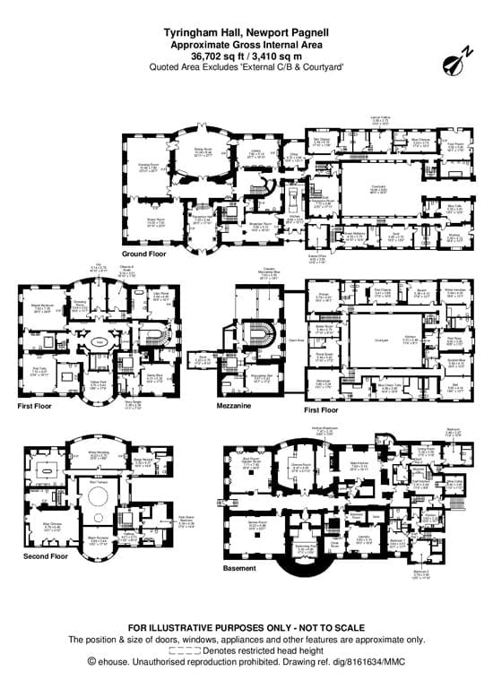 The floorplan illustrates how vast the 37,000 square foot property truly is