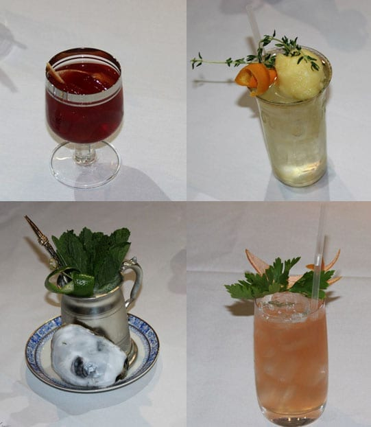 Four of the cocktails created by the nine contestants