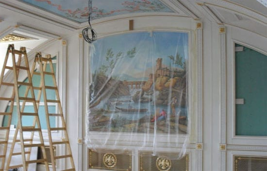 Lavish frescos adorn the walls of the property. Readers will either love or loathe them.