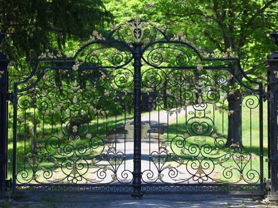 The gates to the 106 acre estate