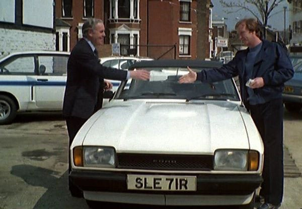 George Cole and Dennis Waterman with the Capri in the show