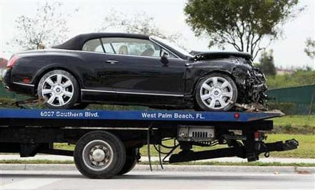 Goodman's Bentley Continental GTC is taken away after the accident in February 2010