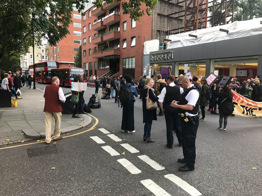 "Commie Ferraris – Ragbag of Communist protestors descend on H. R. Owen Ferrari dealership in South Kensington screaming: ""Kill the Rich!"""