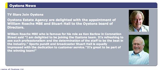 A statement, now removed from the Oystons Estate Agency website, on the appointment of William Roache and Stuart Hall as directors