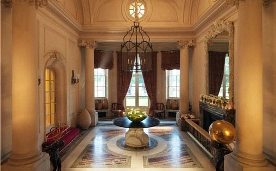 The mansion features an impressive hallway