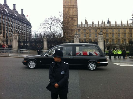 Baroness Thatcher leaves the Palace of Westminster on her final journey to St Paul's Cathedral
