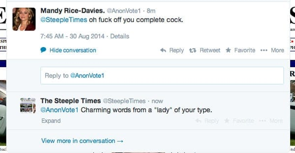 """Her second tweet was simply """"oh f**k off you complete c**k"""""""