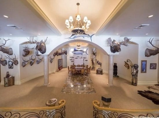 Hunting trophies aplenty feature in this mammoth entertaining space