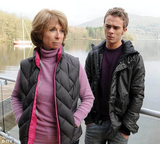 """Actor Jack P. Shepherd as """"Coronation Street's"""" David Platt in a scene with his on-screen mother, Gail, played by Helen Worth"""