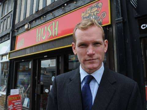 Jeremy Browne pictured rather appropriately outside a restaurant named HUSH