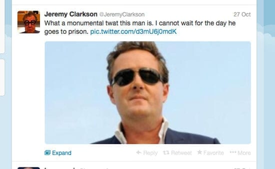 Jeremy Clarkson would like to see Piers Morgan up before the beak