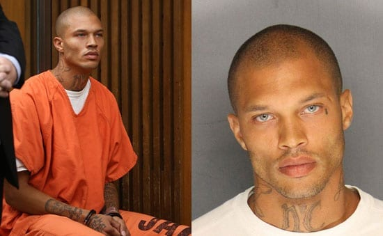 Jeremy Meeks in court and in his mugshot