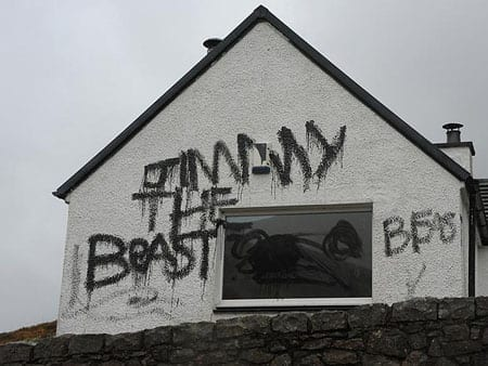 """""""Jimmy the Beast"""" numbers amongst the graffiti that has been daubed on the walls of the cottage"""