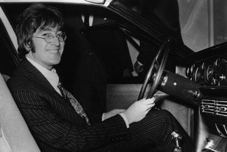 John Lennon pictured shortly after passing his driving test