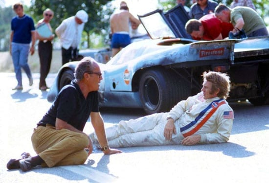 John Sturges and Steve McQueen during filming of Le Mans