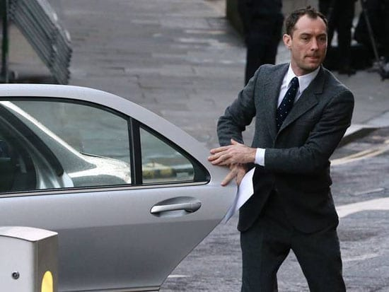 Jude Law arrives at the Old Bailey today