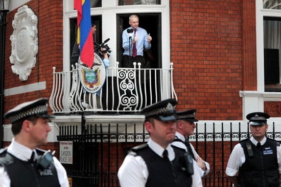Julian Assange on the balcony of the Ecuadorian Embassy in Hans Place, Knightsbridge