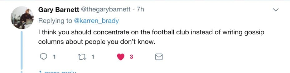 #LazyBrady – Karren Brady is nothing but a Poundland muckspreader – Lady Brady of Knightsbridge shows herself to be nothing but an ignoramus in a pathetic opinion piece for 'The Sun' on James Stunt – @karren_brady on Twitter