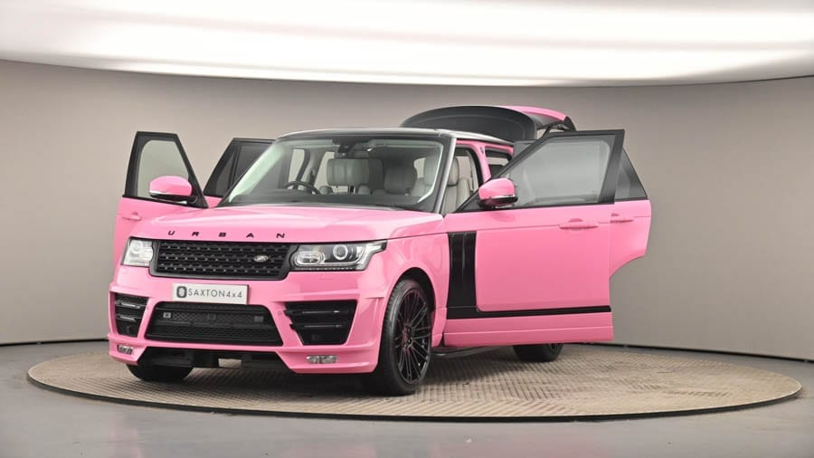A Cut Price Mucky Motor – Repossessed Katie Price Range Rover for sale – Saxton 4x4 slash the asking price for the especially hideously coloured ex-Katie Price 'Barbie Rosa' pink 2015 Land Rover Range Rover to £50,000.