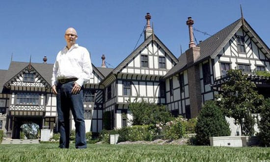 Kelly Porter pictured outside the house he has so lavishly refurbished: Stonesbrook Court Manor, 12335 Stonebrook Drive, Los Altos Hills, California, CA 94022