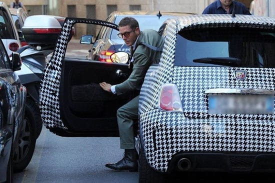 Lapo Elkann gets out of his 'Houndstooth' Fiat 500 Arbath in Milan