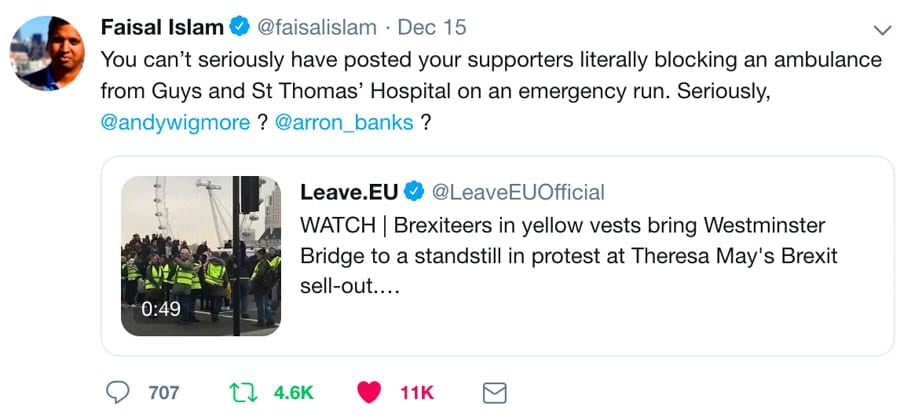 Leave Ambulances Alone – Brexiteers blockade an ambulance – Brexiteers in yellow vests shockingly take pride in blocking an ambulance from Guy's and St Thomas' hospital on Westminster Bridge.