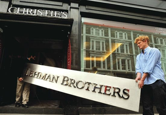 A Lehman Brothers sign sold for just £9,375 at Christie's in London on 17th September 2013
