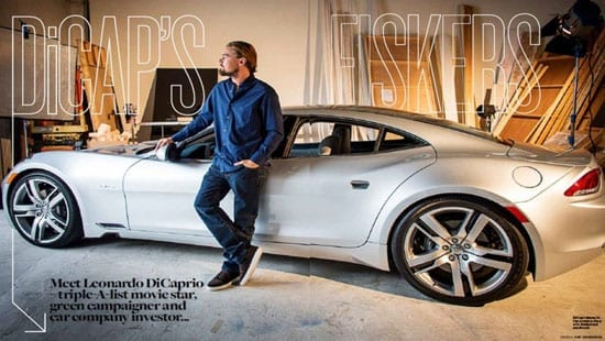 Leonardo DiCaprio with the first Fisker Karma to roll off the production line