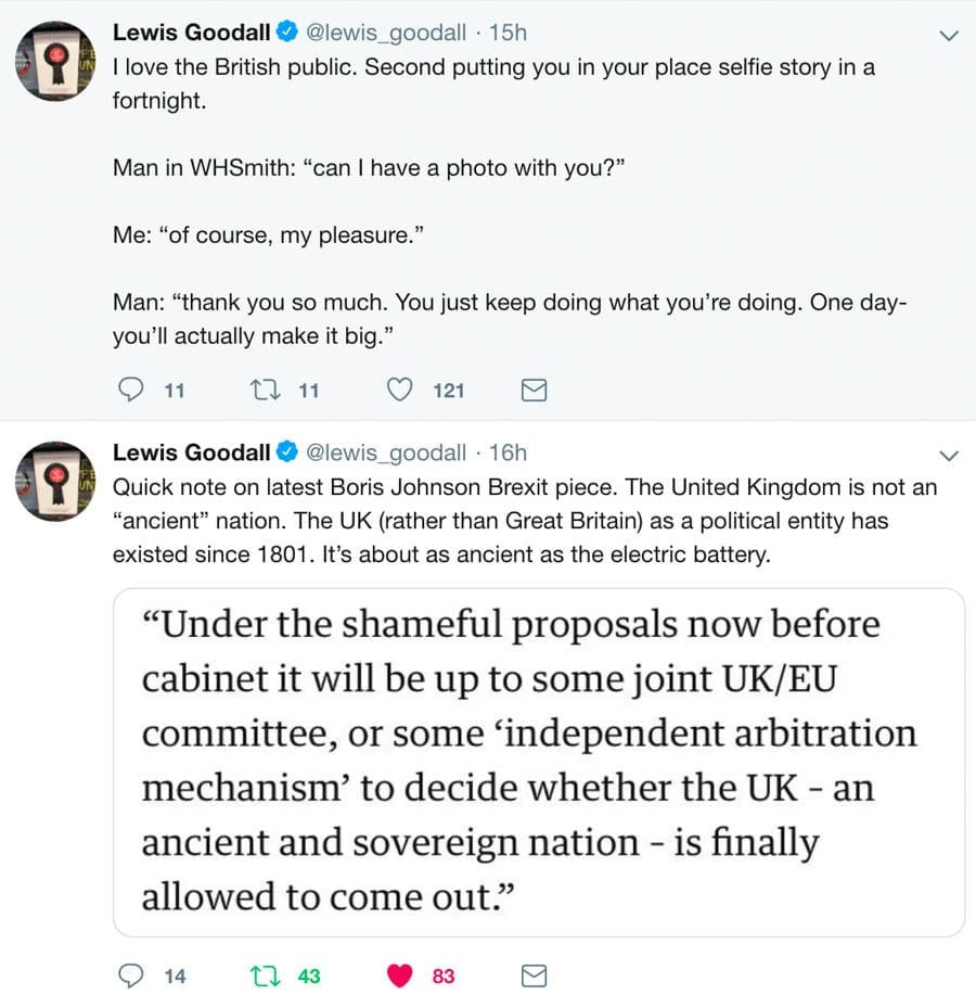 Tweet of the Week – Lewis Goodall – Sky News' Lewis Goodall provides not one but two of the best tweets of the week.