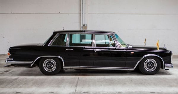 Little and Large – 1964 Mercedes-Benz 600 originally owned by Danish travel entrepreneur Simon Spies (1921 – 1984) for sale – Silverstone Auctions – The Classic Race Aarhus Sale – £93,000 to £108,000 ($135,000 to $157,000 or €120,000 to €140,000) – 29th May 2016 – James Stunt convoy