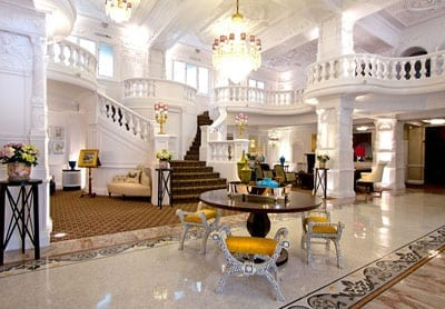 The grand entrance lobby of the hotel