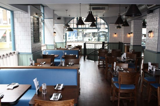 The interior of the Covent Garden outpost of Loch Fyne Restaurants is bright, airy and comfortable