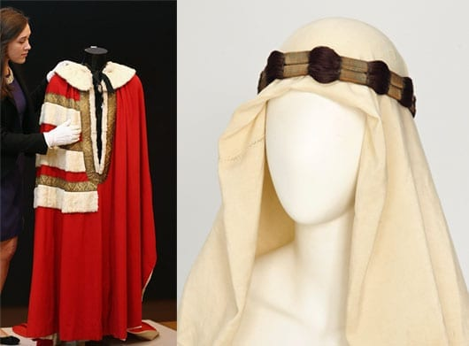 Lord Lucan's parliamentary robe and Lawrence of Arabia headdress are amongst items other than the drill that are on display