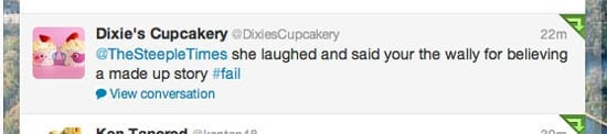 The tweet we received from the firm Luisa Zissman founded, @DixiesCupcakery