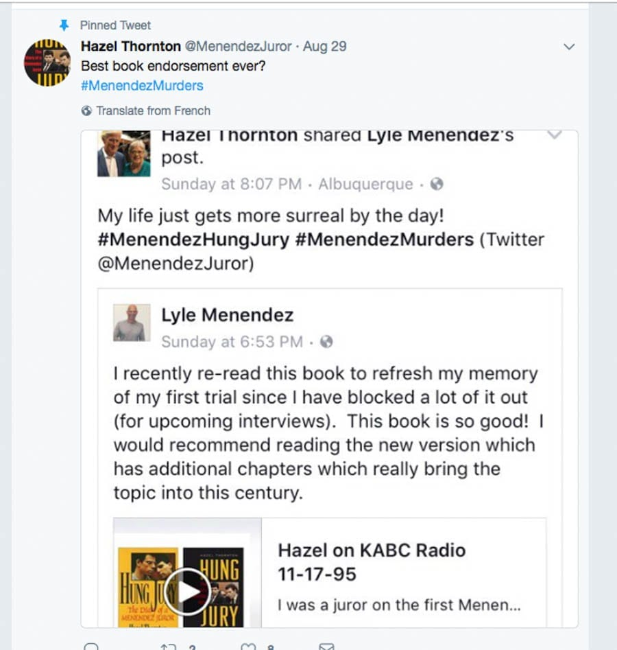 More on Menéndez – As Lyle Menéndez creates a Facebook page about the case against him and his brother Erik, a juror contacts 'The Steeple Times' to comment on their conviction for killing their wealthy parents