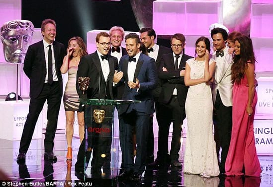 "The cast of ""Made in Chelsea"" accept their BAFTA"