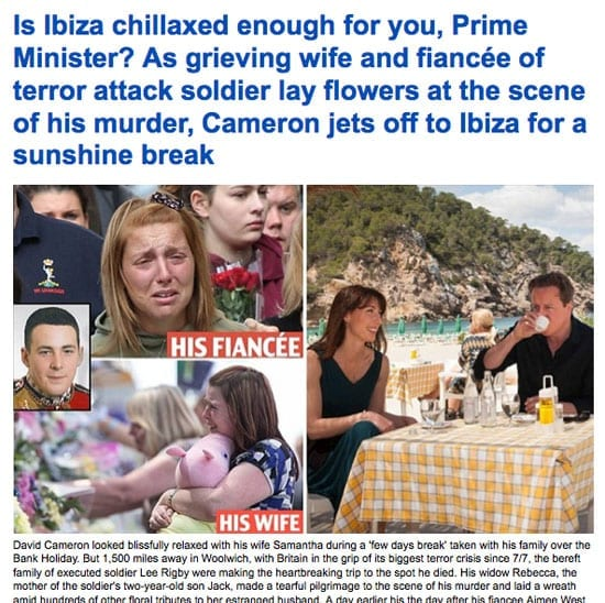 "The ""Mail Online's"" headline mocks the Prime Minister for taking a holiday in Ibiza"