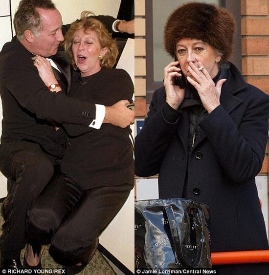 Marie-Claire von Alvensleben with disgraced entertainer Michael Barrymore and pictured outside Hammersmith Magistrates' Court on Wednesday 26th February 2014