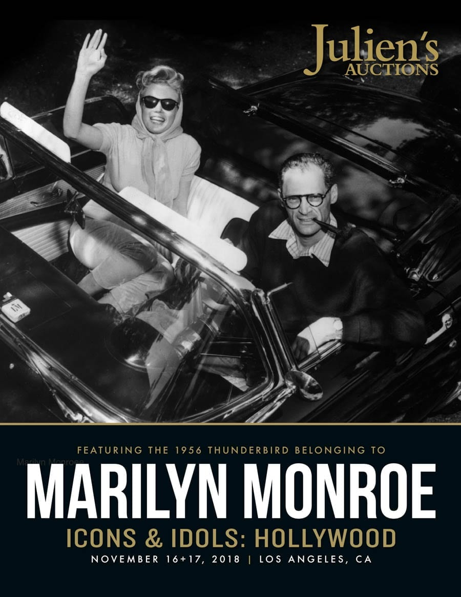 Hit the Road Marilyn – Marilyn Monroe's 1956 Ford Thunderbird to be auctioned by Julien's Auctions in Los Angeles, California on 17th November 2018.