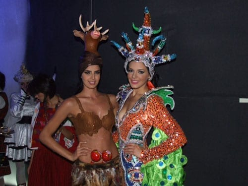 Miss Mexico and Miss Puerto Rico in national costumes 500 1