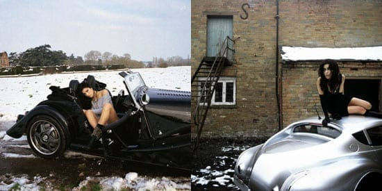 Model Kiera Morgan with her husband's company's cars on two different advertising shoots