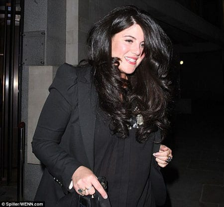 Monica Lewinsky leaving Heather Kerzner's birthday party at Downtown Mayfair last Tuesday