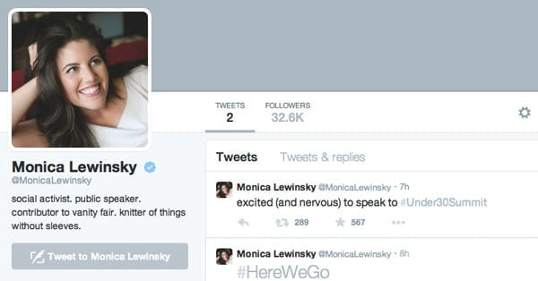 Monica Lewinsky joined Twitter on Monday 20th October 2014 but dont expect any major revelations from her