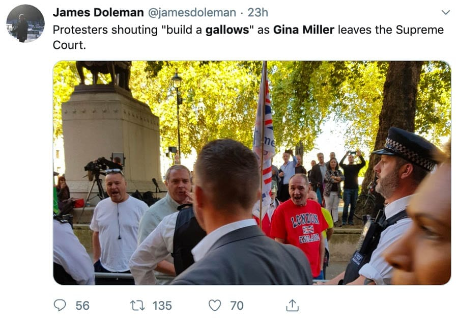 "Name & Shame – Mr. Gallows – ""To the gallows"" yelled at Gina Miller – Thug who yelled ""to the gallows"" at Gina Miller needs to be named and shamed."